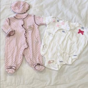 Little Me Matching Set and 3 Girly Gerber Onesies